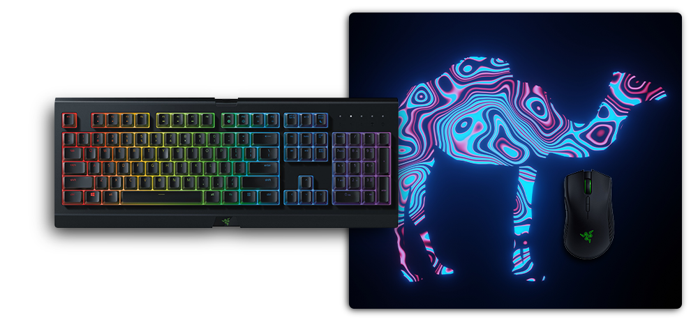 mousepad l without stitched edges under razer keyboard and mouse for size comparison
