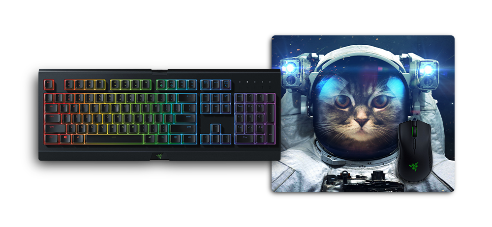 mousepad m without stitched edges under razer keyboard and mouse for size comparison